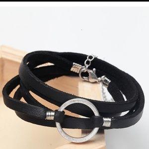 Jewelry - Genuine Leather O-Ring Wrap Bracelet